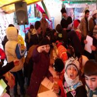برپایی ایستگاه نقاشی در راهپیمایی 22 بهمن شهر دابودشت به روایت تصویر