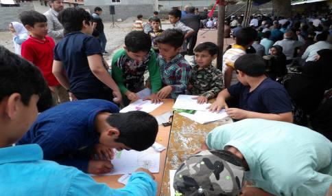 """مسابقه نقاشی با عنوان """"روز قدس"""" در راهپیمایی روز قدس شهر دابودشت"""
