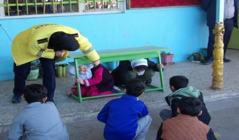 آموزش ایمنی در برابر زلزله دانش آموزان مدارس شهید فاضلی شهر دابودشت با همکاری سازمان آتش نشانی شهر آمل
