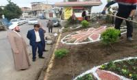 بازدید تقی زاده امام جمعه  و مهدوی شهردار دابودشت از اجرای فضای سبز در ورودی خیابان بهار